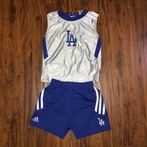 Dodgers adidas tank and shorts set for boys